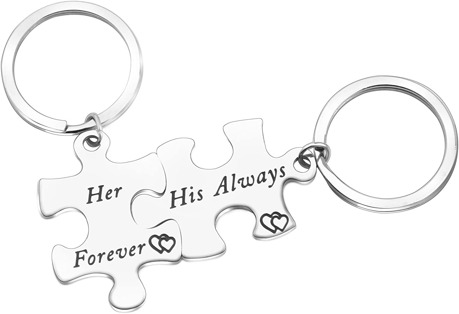 ENSIANTH His and Hers Couples Keychain His Always Hers Forever Set of Two Puzzle Piece Keychain