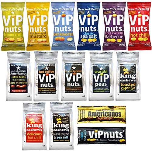 New York Delhi King Cashews and ViPnuts ONE with Everything Selection Box 15 Packs in Total 13 Types