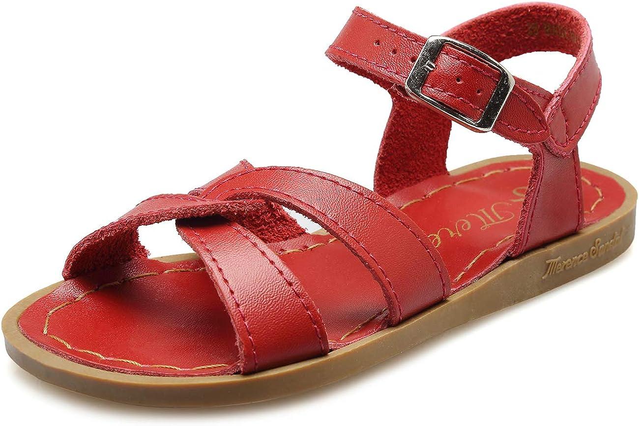 WALUCAN Super intense SALE Girl's Leather Product Sandals Open-Toe C Sandal Adjustable Flat