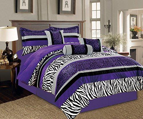 Grand Linen 7 Pieces Purple Black White Grey Leopard Zebra Comforter (102'x92') Bed-in-a-Bag Set King Size Bedding