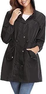 Aibrou Women's Lightweight Raincoats Waterproof Active Outdoor Packable Hooded Windbreaker Rain Jacket Trench Coats
