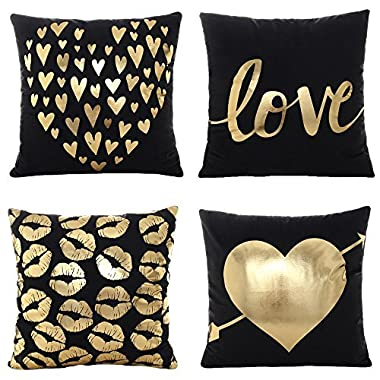 WOMHOPE 4 Pcs - 17  Black & Golden Hot Stamping Super Soft Short Fuzzy Cushion Decorative Pillow Covers Square Throw Pillowcase Cushion Covers for Sofa,Bed (Love (Set of 4 pcs))