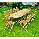Le Morotai 10: Salon DE Jardin en Teck Massif : Plateau 10-12 Personnes Table Ovale, 10 chaises