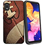 Compatible with Samsung Galaxy A10e / Samsung Galaxy A20e | Textured Lines Embossed Hybrid Hard Plastic Shell TPU Bumper Case by Untouchble - Football