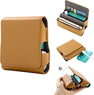 Lrker PU Leather Case for IQOS3.0 Electronic Cigarette, with Card Slot Magnetic Cover Compact Storage Box Full Protection Shell Pocket Wallet Tobacco Pouch Bag Holder Yellow