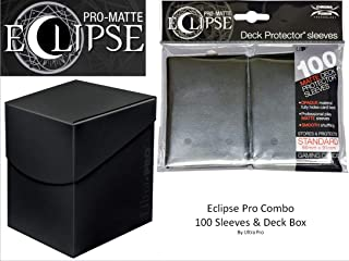 Jet Black Deck Protector & Deck Box Combo (100 Count) for MTG Pro-Matte Eclipse by Ultra Pro