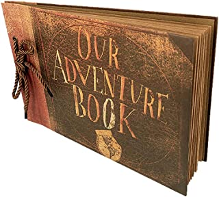 Photo Album Scrapbook Gift DIY Handmade Album Scrapbook Movie Up Travel Scrapbook for Anniversary Suitable for Lover Friends and Kids etc (Retro Version)