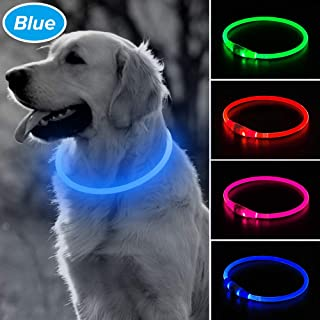 BSEEN LED Dog Collar, USB Rechargeable Glowing Pet Collar, TPU Cuttable Dog Safety Lights for Small Medium Large Dogs
