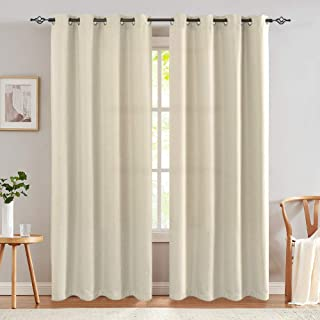 84 Inches Greyish Beige Thermal Insulated Curtains Blackout Bedroom Living Room Grommet Top Window Treatment Set of 2 Panels Drapes