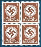 RARE ORIGINAL UNCUT BLOCK OF 4 NAZI SWASTIKA STAMPS! Mint Never Hinged Fully Gummed
