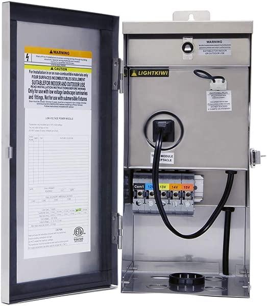 Lightkiwi W9715 300 Watt 12V 13V 14V 15V Multi Tap Low Voltage Transformer For Landscape Lighting