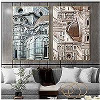 YQQICC ヨーロピアンスタイルの城の建築キャンバスの壁の芸術の絵画ポスターは風景写真を印刷します家の居間の装飾-40x60cmx2フレームなし