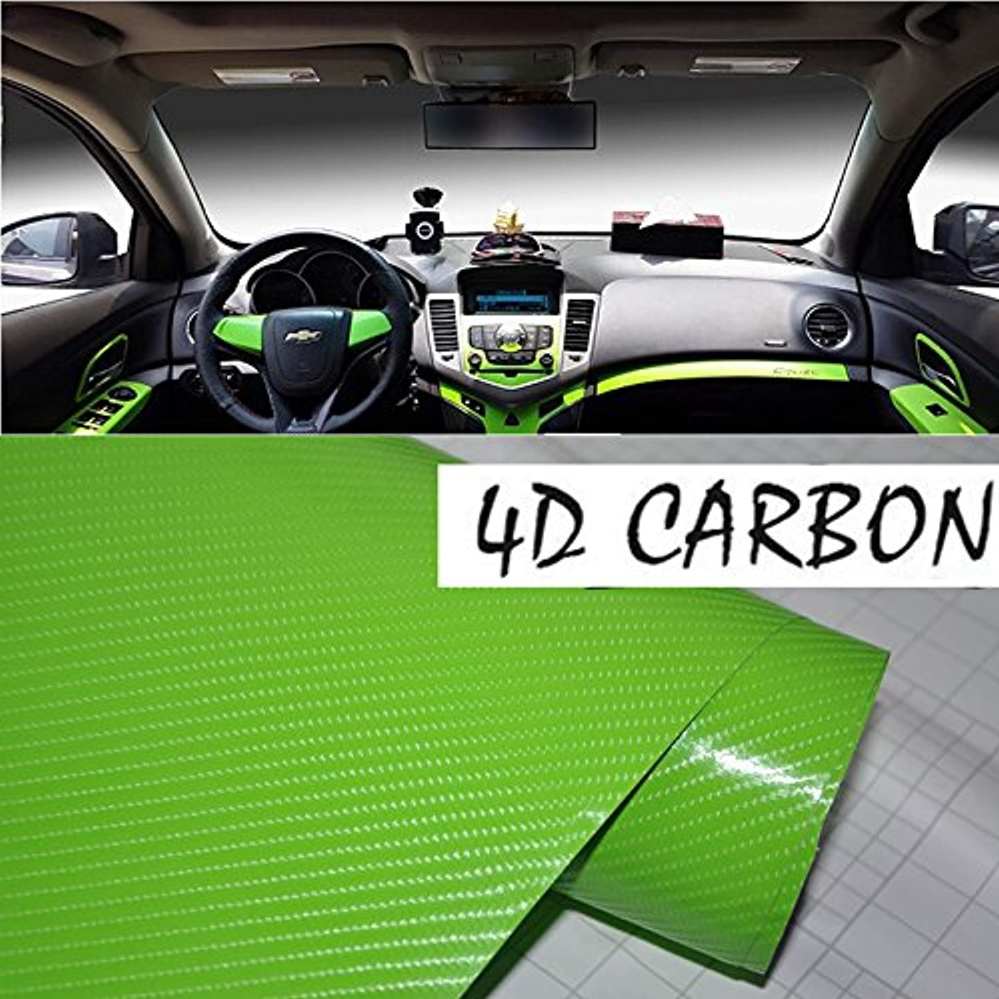 DIYAH 4D Green Carbon Fiber Vinyl Wrap Sticker with Air Realease Bubble Free anti-wrinkle 12