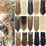 FLORATA 7Pcs 16 Clips Curly Straight Clip in Hair Extension Full Head Clip on Synthetic Hair Extension Thick Double Weft Hair Extensions Wavy Hairpieces for Women Fashion and Beauty