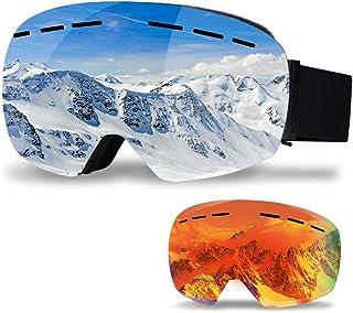 infinitoo skidglasögon med 1 ersättningsobjektiv skidor snowboardglasögon glasögonhållare spegelspegelmed dubbla glas OTG|...