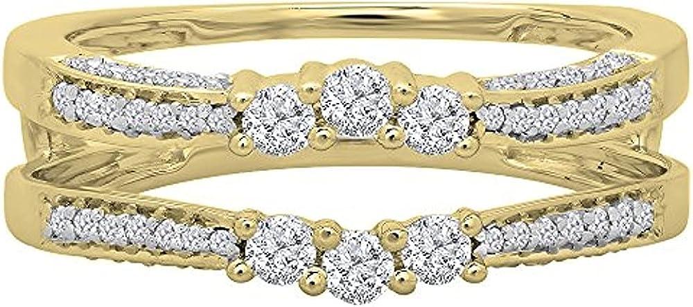 14K Yellow Gold Over Lowest price challenge Three Enhancer Max 75% OFF Diamond Zirconia Cubic Guard
