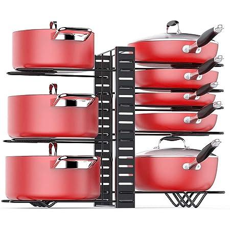 Baodan Organisateur de maniques à 8 étages pour casseroles et poêles, support réglable avec 3 méthodes de bricolage, rangement de cuisine