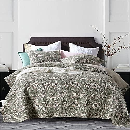 2021 algodón acolchado colcha doble tamaño 3 pieza gris hojas de pino reversible remiendo acolchado manta lámina hoja vintage marrón estampado de ropa de cama