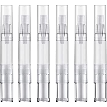 Lisapack 5ml Empty Nail Oil Pen with Brush, Twist Pen for Cuticle Oil Applicator, Teeth Whitening Container for Cosmetic, Lip Gloss (Transparent, Pack of 6)