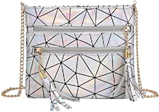 Women Fashion Hologram Laser Envelop Clutch Geometric Metal Chain Crossbody Shoulder Handbag Purse with Tassel