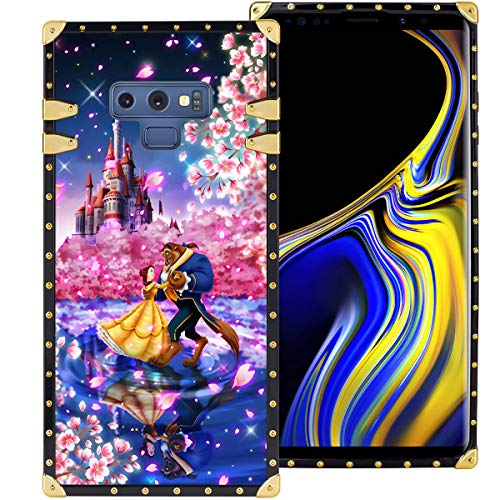 DISNEY COLLECTION Samsung Galaxy Note 9 6.4 Inch 2018 Luxury Square Phone Case Beauty and The Beast Dance Romantic Metal Decoration Corners Precision Cutouts Shockproof Shell