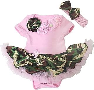 Neck Rosettes Bodysuit Camouflage Baby Dress Nb-18m