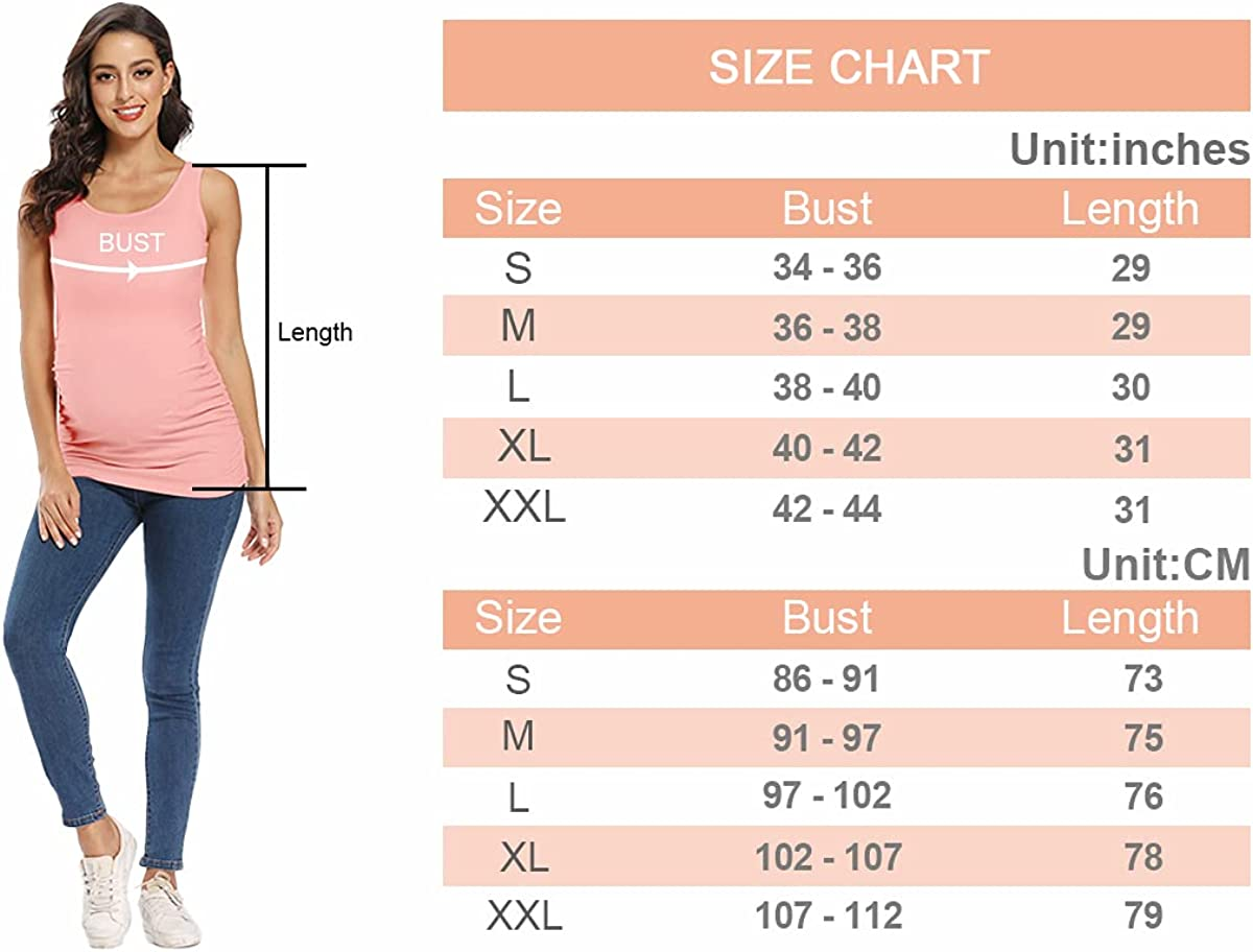 AMPOSH Women's Maternity Tank Top 3 Pack Ruched Side Sleeveless Pregnancy Basic Shirt at  Women's Clothing store