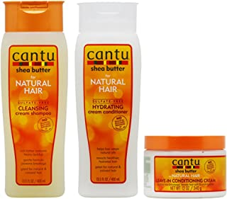 Cantu Shea Butter Cleansing Shampoo + Hydrating Conditioner + Leave-in Conditioning Cream 12oz