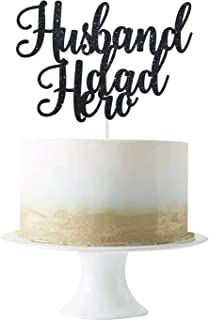 Black Glittery Husband Dad Hero Cake Topper Happy Father's Day Party Cake Decor Love Father/Best Father/Best Dad Ever/Love...