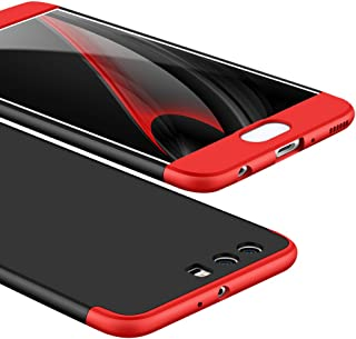 Ocamo for Huawei P10 Plus Ultra Slim Back Cover Non-Slip Shockproof 360 Degree Full Protective Case Red Black red