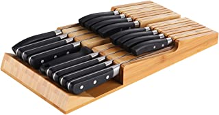 NIUXX Bamboo Knife Block for 16 Knives(Not Included), Large In-Drawer Washable Removable Cutlery Organizer Tray, Kitchen Storage Holder for Sharpening Steel and Cutter