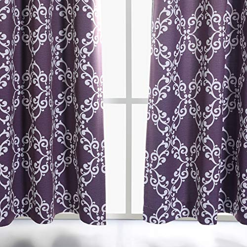 """MYSKY HOME Purple Curtains for Girls Room Moroccan Floral Printed Thermal Insulated Grommet Top Blackout Curtains for Bedroom, 52"""" W x 63"""" L, Set of 2 Panels"""