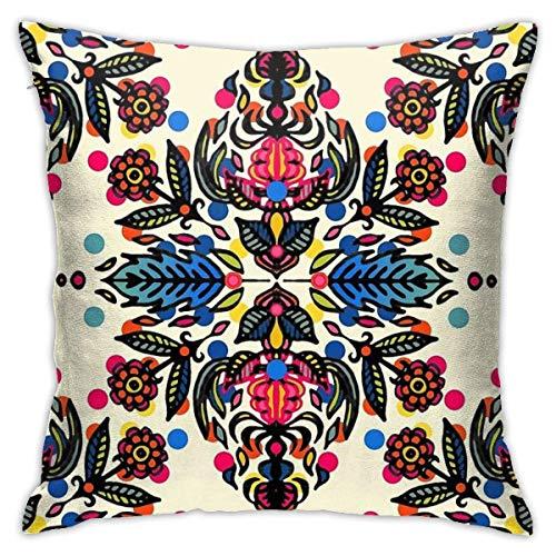 IUBBKI Bright Folk Art Muster - Pink, Orange, Blau & Grün Quadrat (45 cm x 45 cm)...