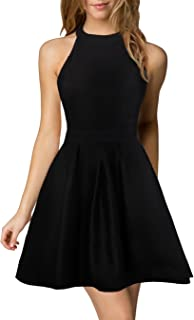 Women's Halter Neck A-Line Semi Formal Short Backless Black Cocktail Party Dress