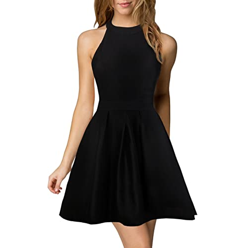 8493f3a50b Berydress Women s Halter Neck A-Line Semi Formal Short Backless Black  Cocktail Party Dress