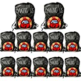 12 Pack Black Among us Drawstring Bags, 14' *11' Among us Gift Bags Storage Backpack Birthday Goodie Bags Party Favors for Boys and Girls Birthday Party Supplies
