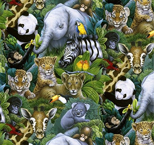 Jungle Safari Animals Cotton Fabric by The Yard