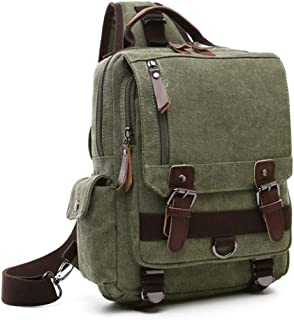 Bageek Mens Chest Pack Canvas Casual Shoulder Bag Outdoor Sports Sling Bag (Green)