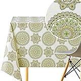 KP Home - Mantel de vinilo con diseño de mandala oriental (200 x 140 cm), diseño de flores de loto, color crema y verde