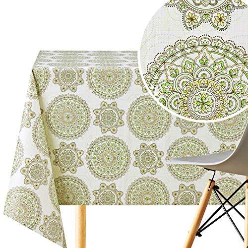 KP HOME Mantel con diseño de mandala de loto oriental, rectangular, 200 x 140 cm, PVC, reutilizable, lavable, diseño étnico, color crema y verde