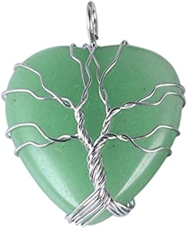 Loveliome Natural Heart Crystals Necklace for Women, Handmde Tree of Life Wire Wrapped Healing Stone Pendant Charms
