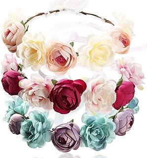 REVEW 3PCS Handmade Flower Headband Floral Crown, Bridal Hair Wreath Wedding Halo Floral Garland Headbands Headpiece With Ribbon For Wedding Party Photo Props
