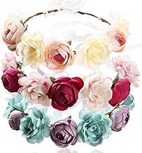 YAZILIND Flor Guirnalda Grande Rosa Guirnalda Floral Diadema Nupcial para Bodas Festivales Turismo Rojo