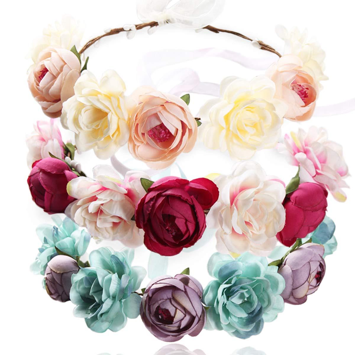 MOAMUN Albuquerque Mall 3PCS Handmade Flower Headband Max 46% OFF Floral Crown Hair W Bridal
