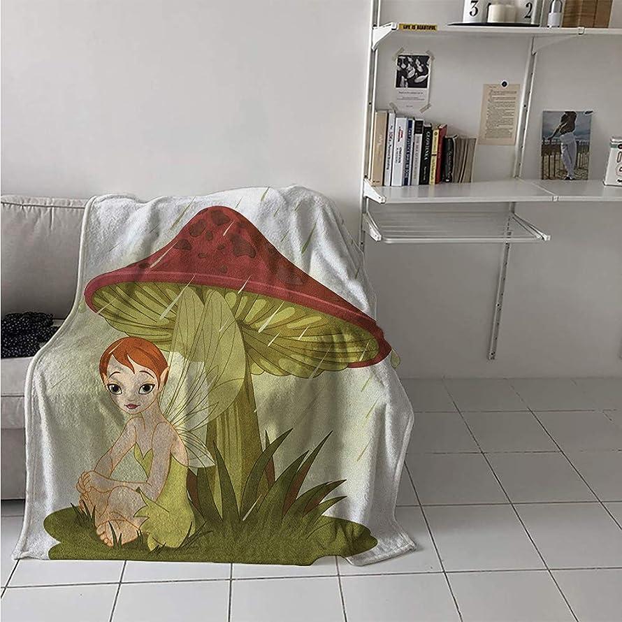 Lightweight Blanket, Fairy in Rain Under Mushroom Rainy Weather Wings Water Drops Greenery, Throw Blanket for Kids 50x30 Inch Olive Green Ruby Cream