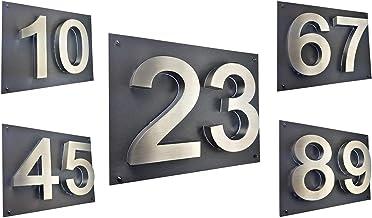 LED-huisnummer 3D huisnummerbord roestvrij staal V2A Arial verlicht huisbord 35cm x 28cm kleur diamant-antraciet TWESTELLIG
