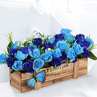 [QIFENGDIANZI]ブルーローズ 長さ:20cm 鉢花 鉢植え 木製 造花 花瓶付き 人工観葉植物 枯れない 手作り 本物そっくり 飾り お祝い/誕生日/記念日/母の日/敬老の日/卒業・入学に/クリスマスに/プレゼント