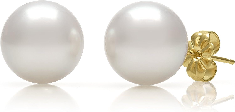 14K Gold AAA Quality White Cultured Freshwater Pearl Stud Earrings