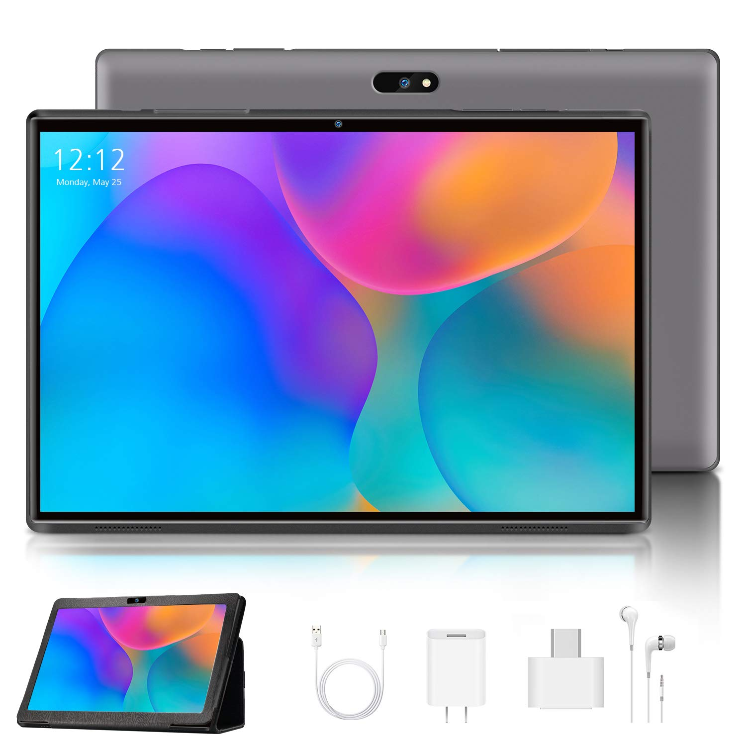4G LTE Tablette Tactile 10.1 Pouces Android 9.0 Certifié par Google GMS, Tablette Full HD 1.3GHz CPU 3Go RAM 32Go ROM Support TF Extension (128 Go) et Double caméra WiFi/Bluetooth/GPS/OTG - Gris