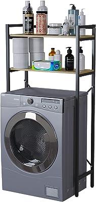 洗濯機上ラック ランドリー収納 洗濯機ラック 洗濯機に対応 可動棚 掛ける収納 ぐらつき防止 棚 収納 組立品 省スペース 各層の耐荷重は15kgです シンプル 幅63.5cm×奥行28cm×高さ126cm ブラック